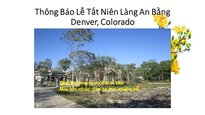 Thông Báo: Lễ Tất Niên Làng An Bằng – Denver Colorado