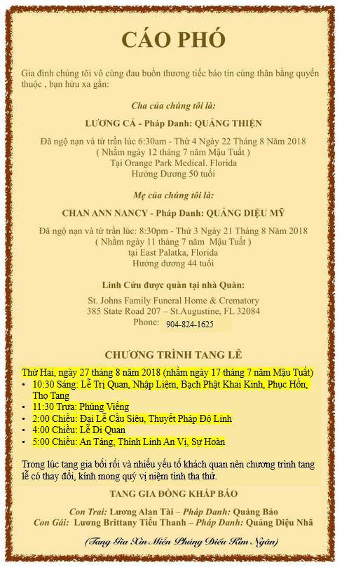 Cáo Phó và Chương Trình Tang Lễ – Lương Cả & Chan Ann Nancy