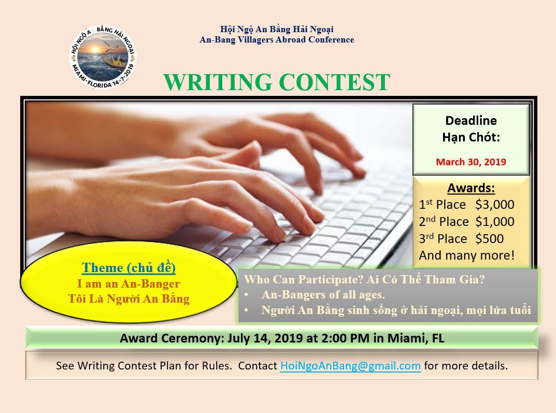 HNABNH Tổ Chức Cuộc Thi Viết Văn, Writing Contest (Big Prizes)
