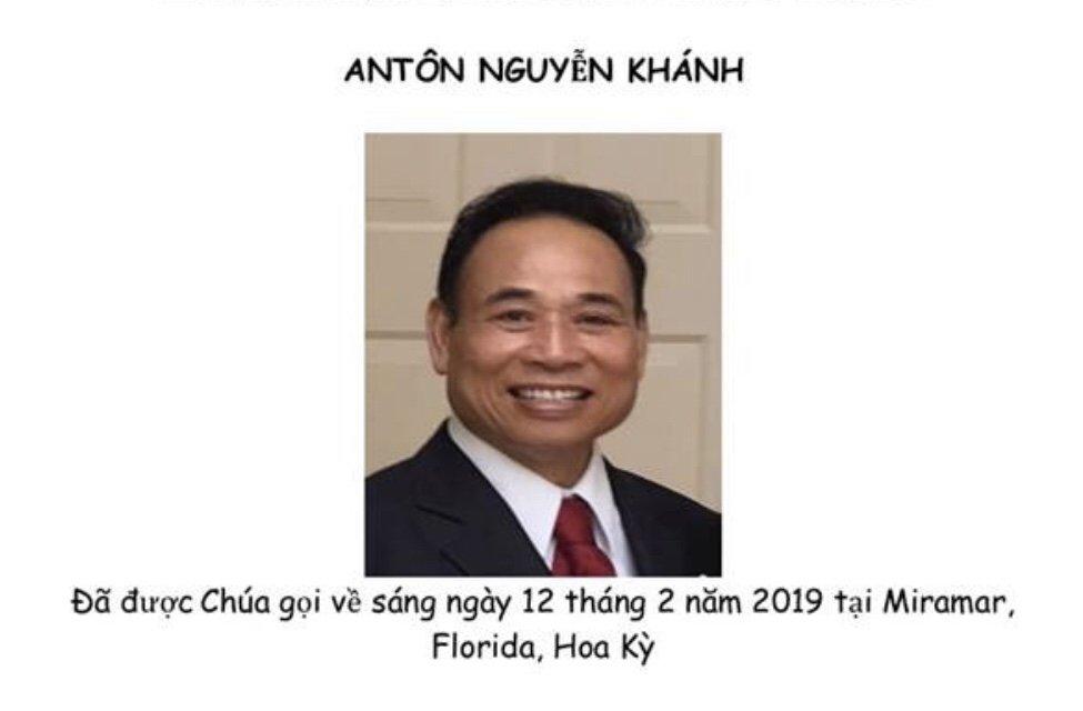 Ông Antôn Nguyễn Khánh Qua Đời