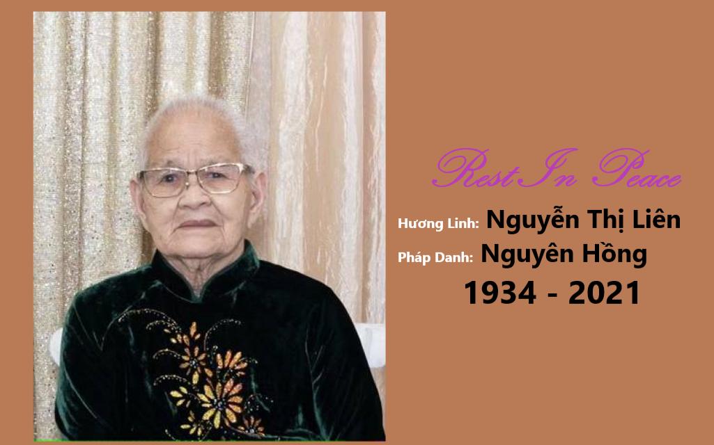 Mệ Nguyễn Thị Liên, pd Nguyên Hồng, Qua Đời