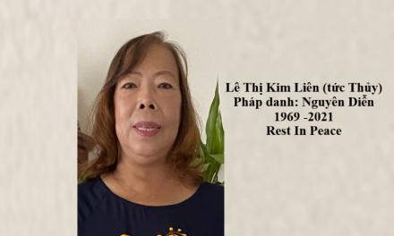 Bà Lê Thị Thủy, Pháp Danh Nguyên Diễn, Qua Đời